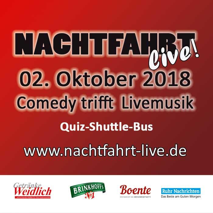 Nachtfahrt live! Live-Musik meets Comedy